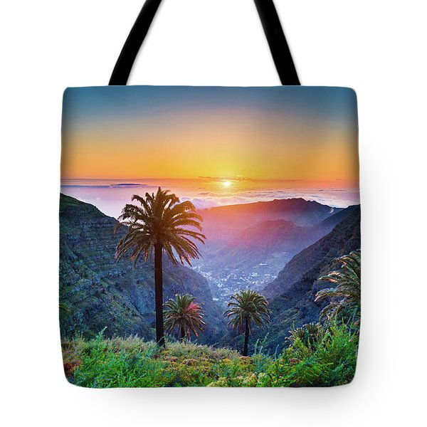 Sunset In The Canary Islands Tote Bag by JR Photography