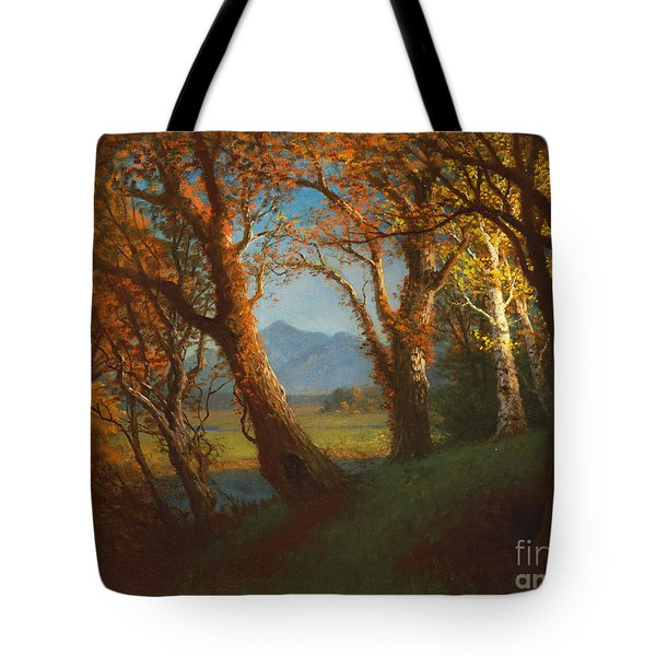Sunset In The Nebraska Territory Tote Bag by Albert Bierstadt