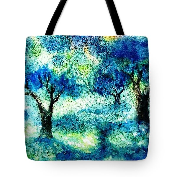 Tote Bag featuring the painting Sunset In The Olive Grove  by Trudi Doyle