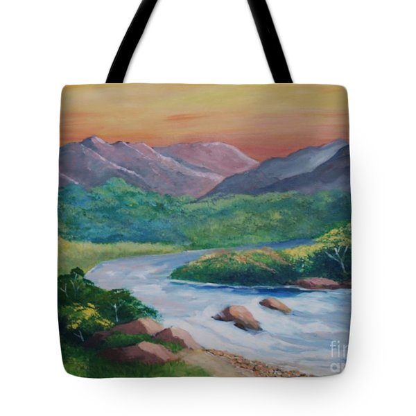 Sunset In The River Tote Bag