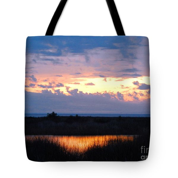 Sunset In The River Sea Beyond Tote Bag