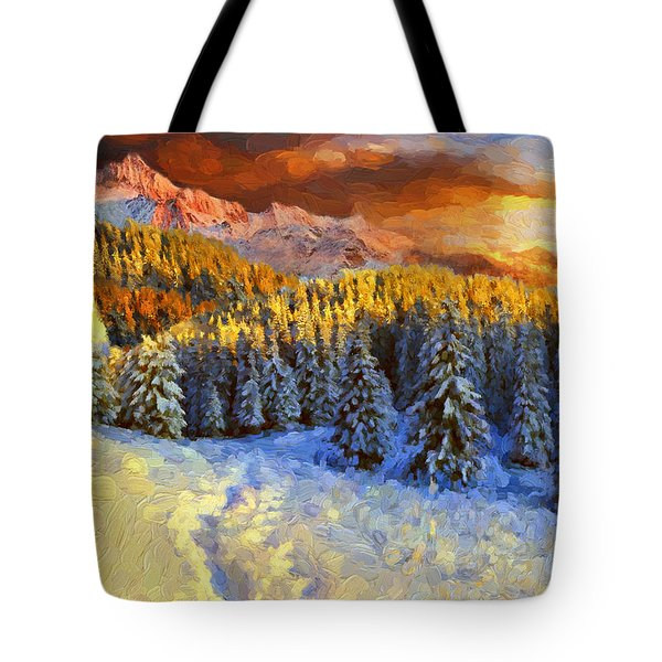 Sunset In The Rockys Tote Bag