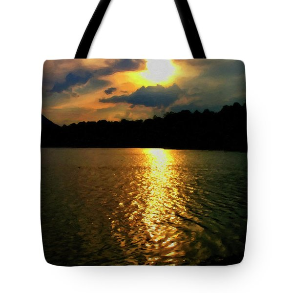 Tote Bag featuring the digital art Sunset In The Smoky Mountains 1 by Chris Flees