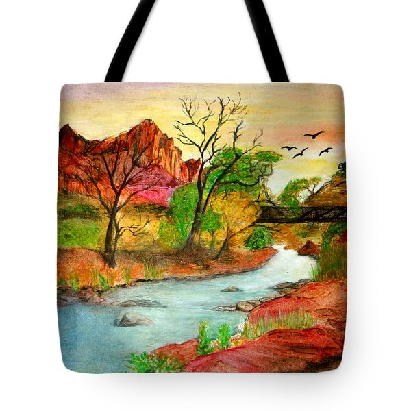 Sunset In Zion Tote Bag