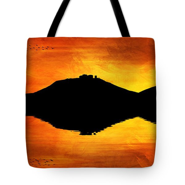 Tote Bag featuring the digital art Sunset Island by Ian Mitchell
