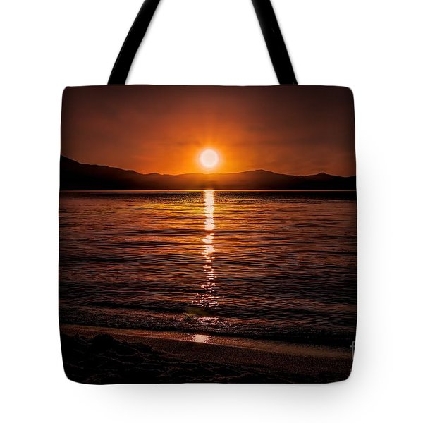 Sunset Lake 810pm Textured Tote Bag