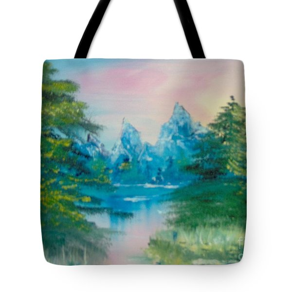 Tote Bag featuring the painting Sunset Lake by Saundra Johnson