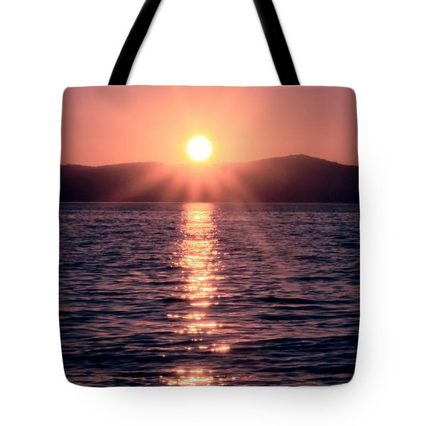 Sunset Lake Verticle Tote Bag