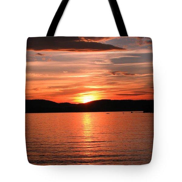 Sunset-lake Waukewan 1 Tote Bag by Michael Mooney