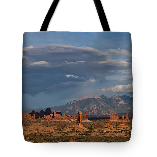 Sunset Light And Shadow In Arches National Park Tote Bag