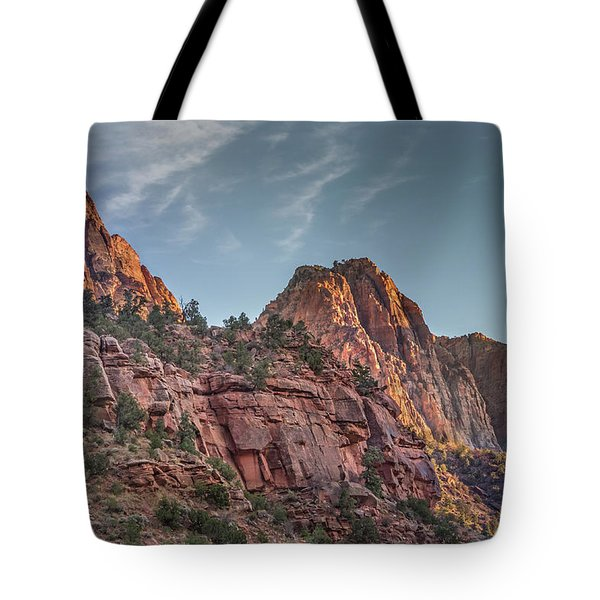 Sunset Lighting At Zion Tote Bag