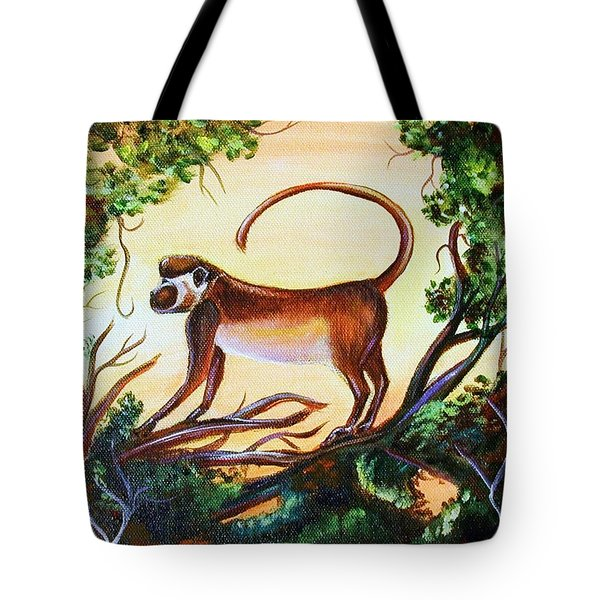 Tote Bag featuring the painting Sunset Monkey by Patricia Piffath