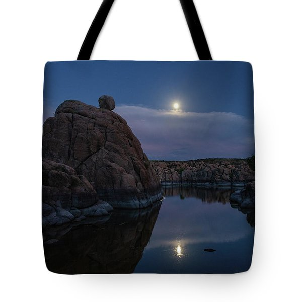 Tote Bag featuring the photograph Sunset Moon Reflection by Gaelyn Olmsted