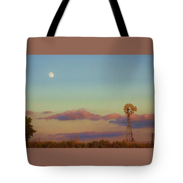 Sunset Moonrise With Windmill  Tote Bag