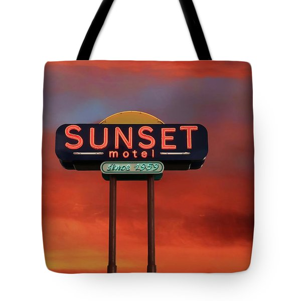 Tote Bag featuring the photograph Sunset Motel by Donna Kennedy