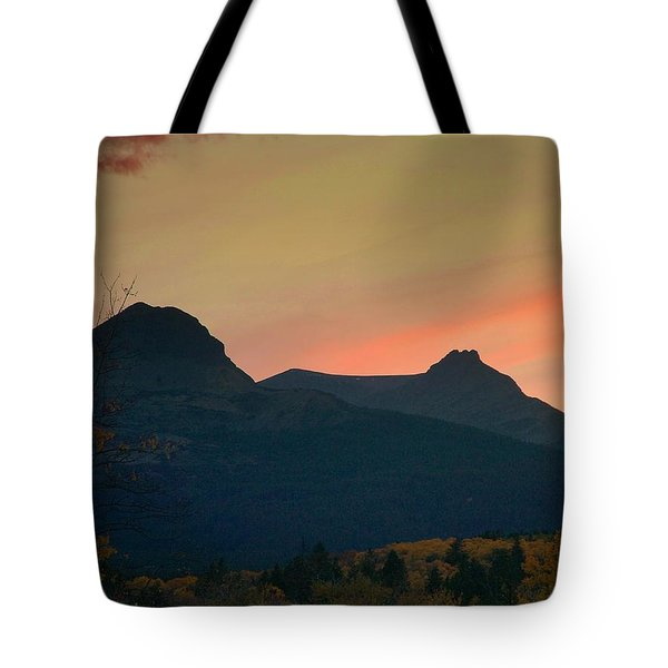 Sunset Mountain Silhouette Tote Bag