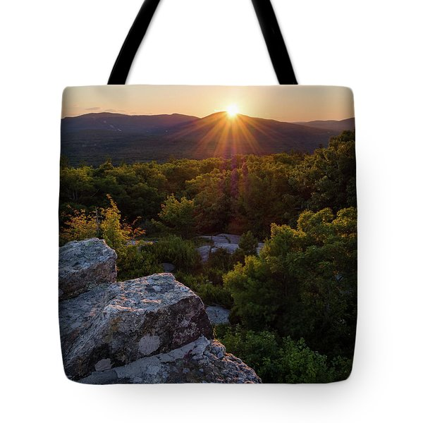 Tote Bag featuring the photograph Sunset, Mt. Battie, Camden, Maine 33788-33791 by John Bald