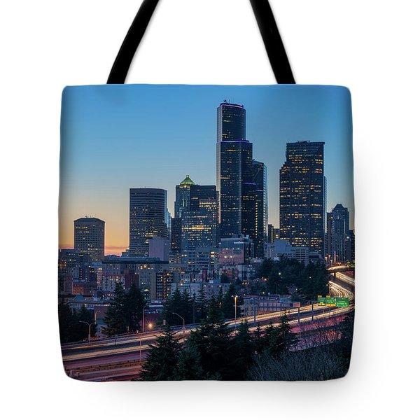 Sunset Night-freeway Lights Tote Bag