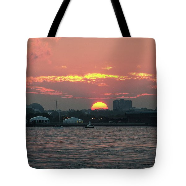 Sunset Nyc Harbor Tote Bag