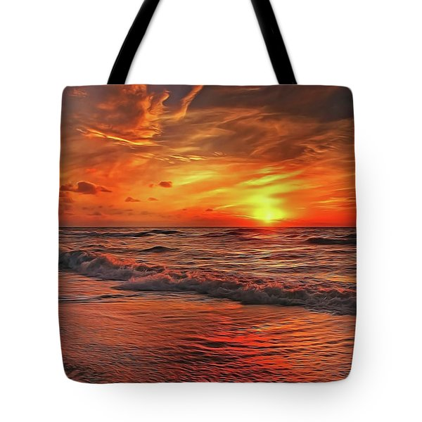 Tote Bag featuring the painting Sunset Ocean Dance by Harry Warrick