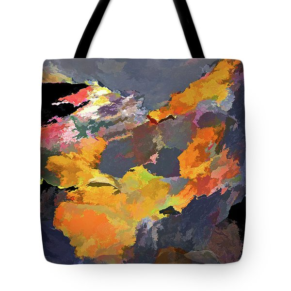 Tote Bag featuring the mixed media Sunset Of The Gods 4 by Lynda Lehmann