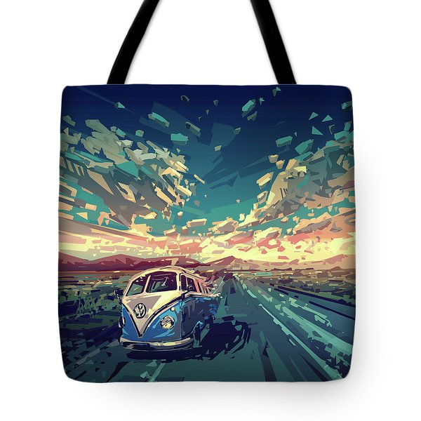 Sunset Oh The Road Tote Bag by Bekim Art