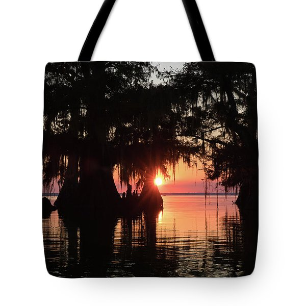 Sunset On A Louisiana Cypress Swamp Tote Bag