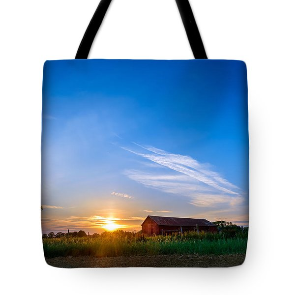 Sunset On A Maryland Farm Tote Bag