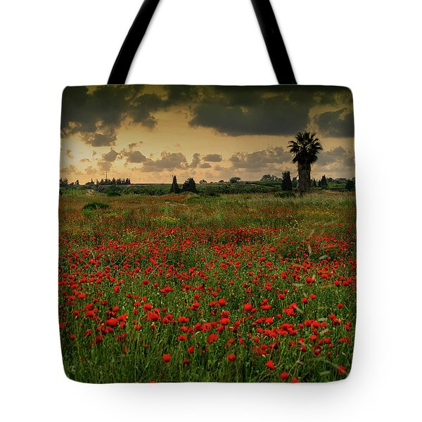 Sunset On A Poppies Field Tote Bag