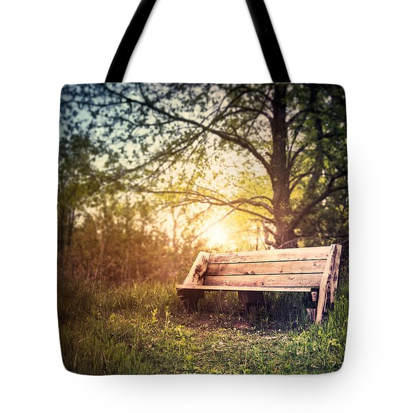 Sunset On A Wooden Bench Tote Bag