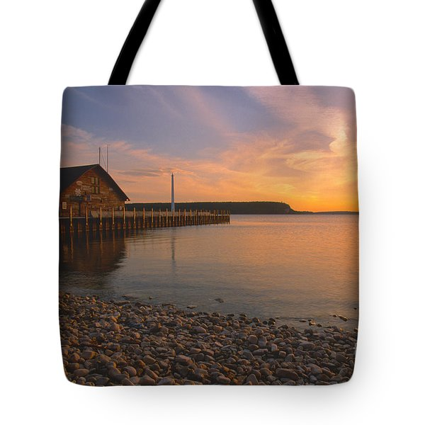 Sunset On Anderson's Dock - Door County Tote Bag