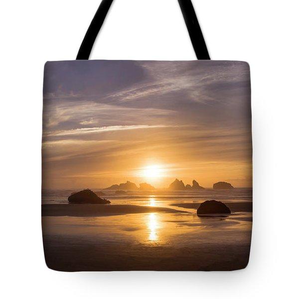 Sunset On Bandon Beach Tote Bag