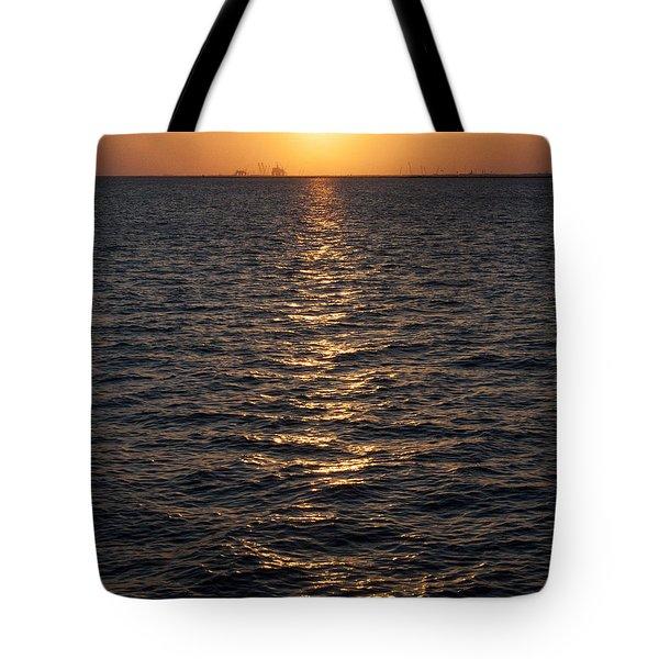 Sunset On Bay Tote Bag