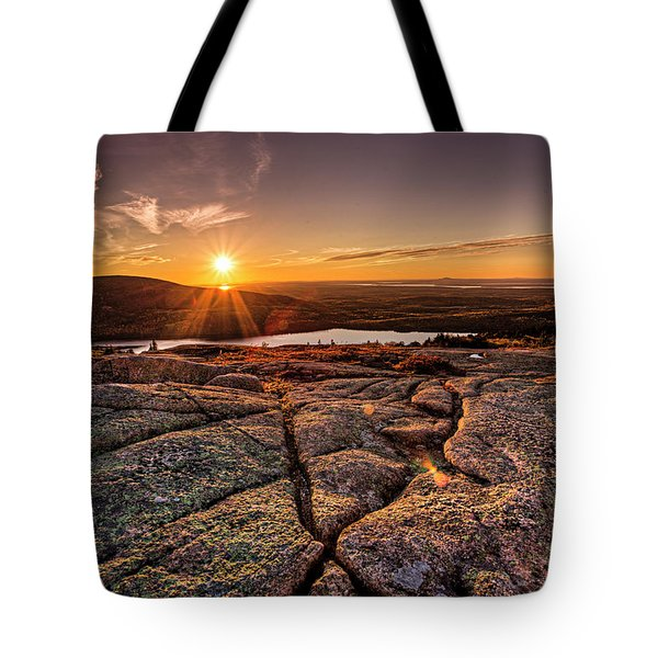 Tote Bag featuring the photograph Sunset On Cadillac Mountain by Joe Paul
