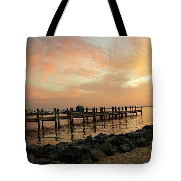 Sunset On Dewey Bay Tote Bag