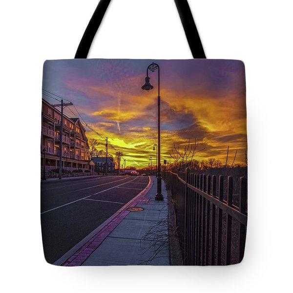 Sunset On Eliot St Milton Ma Tote Bag