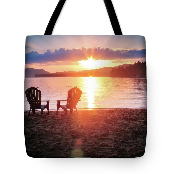 Sunset On Fourth Lake Tote Bag