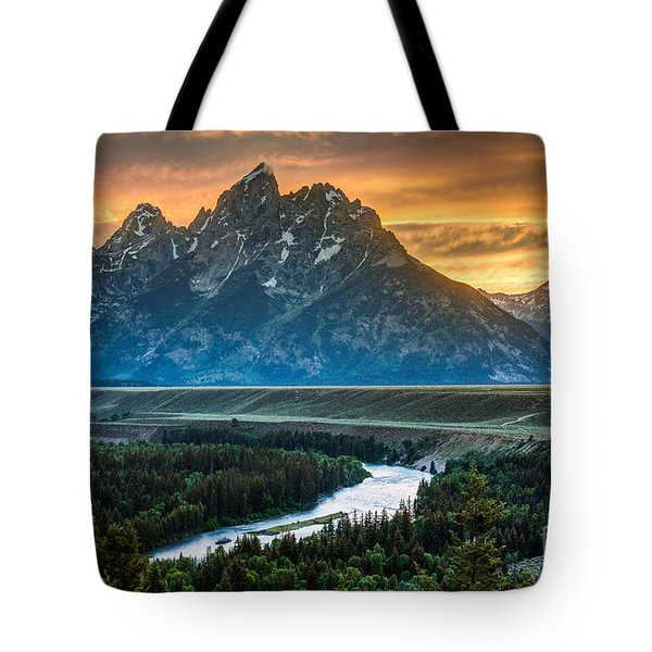 Sunset On Grand Teton And Snake River Tote Bag by Gary Whitton