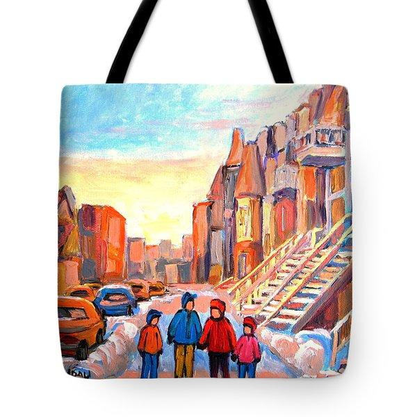 Sunset On Hotel De Ville Street Montreal Tote Bag by Carole Spandau