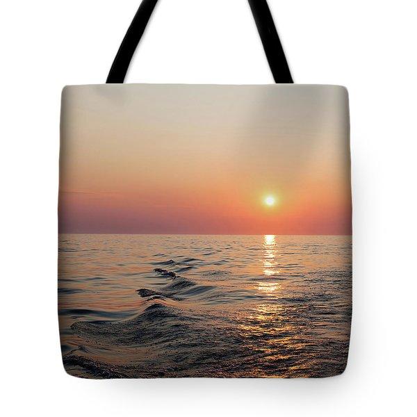 Sunset On Lake Michigan Tote Bag