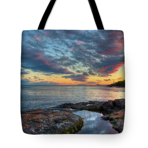 Sunset On Lake Superior Tote Bag