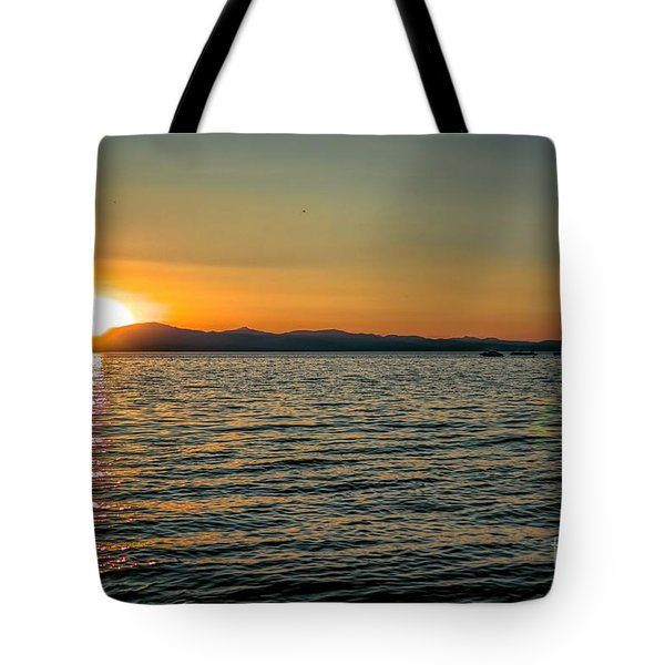 Sunset On Left Tote Bag