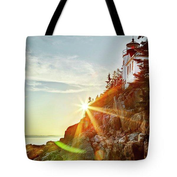 Ocean Sunset On Maine's Bass Harbor Lighthouse Tote Bag
