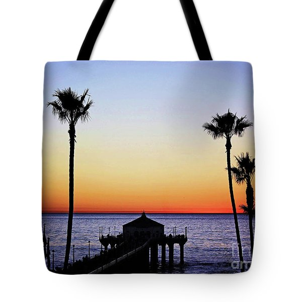 Sunset On Manhattan Beach Pier Tote Bag