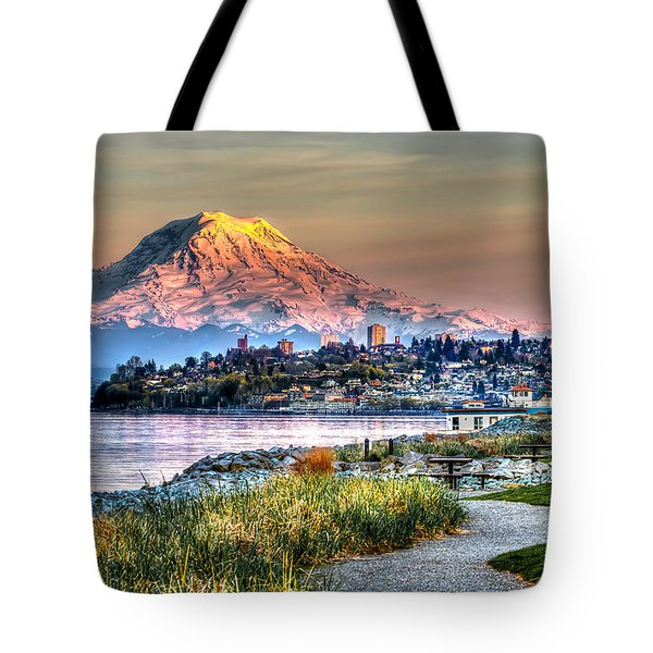 Sunset On Mt Rainier And Point Ruston Tote Bag