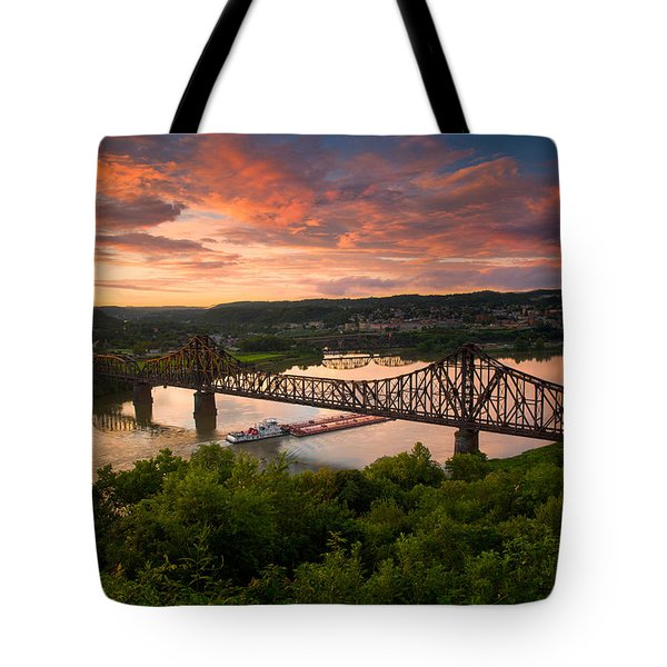 Sunset On Ohio River  Tote Bag