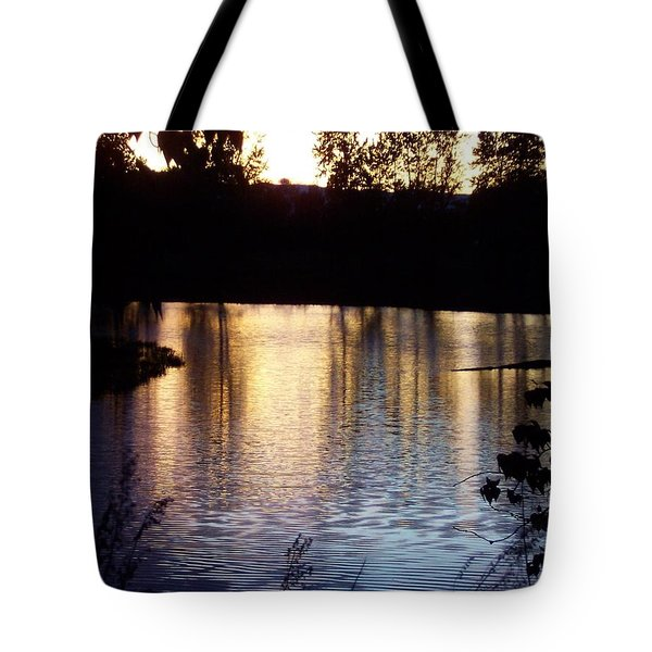 Sunset On River Tote Bag