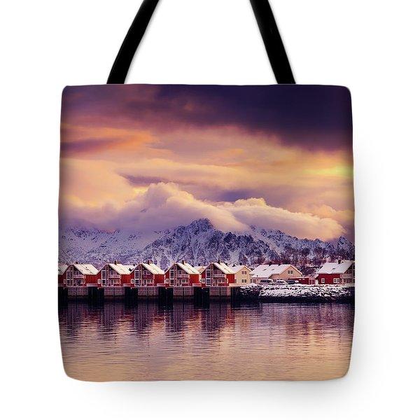 Sunset On Svolvaer Tote Bag