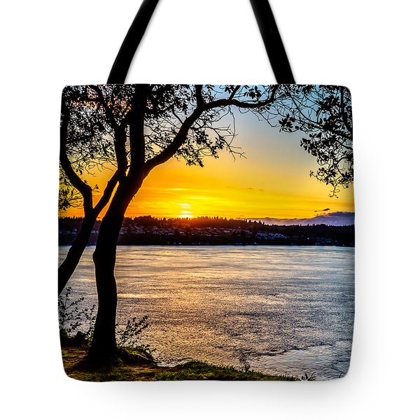 Sunset On Tacoma Narrows Tote Bag