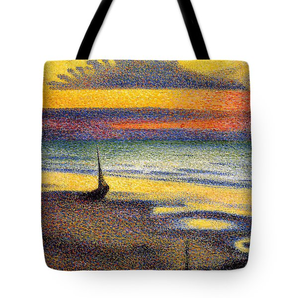 Sunset On The Beach 1891 Tote Bag